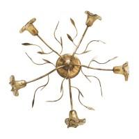 Φωτιστικό οροφής τύπου vintage πεντάφωτο πολύφωτο μεταλλικό με γυαλιά χρώματος χρυσή πατίνα Φ60cm και ντουί G9 x 5 για λάμπες led