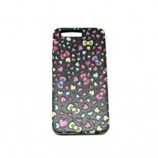 Θήκη HUAWEI P10 κινητού τηλεφώνου TPU σιλικόνης back cover χρώματος μάυρο με σχεδιο ροζ καρδούλες 3D