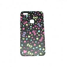 Θήκη HUAWEI P10 LITE κινητού τηλεφώνου TPU σιλικόνης back cover χρώματος μάυρο με σχεδιο ροζ καρδούλες 3D