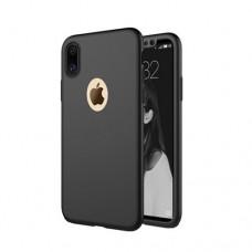 Θήκη iphone X κινητού τηλεφώνου χρώματος μαύρο full body 360⁰ θήκη και Τζαμάκι - Tempered Glass
