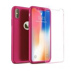 Θήκη iphone X κινητού τηλεφώνου χρώματος ρόζ full body 360⁰ θήκη και Τζαμάκι - Tempered Glass
