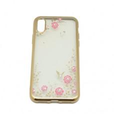 Θήκη iphone X κινητού τηλεφώνου back cover σιλικόνης χρώματος χρυσό με strass