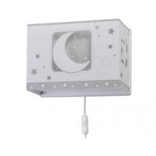 Φωτιστικό παιδικό μονόφωτο απλίκα τοίχου gray moon (γκρί φεγγάρι) με διπλό τοίχωμα Ε27 (δώρο μια λάμπα LED E27)