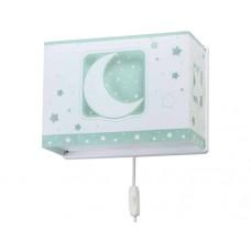 Φωτιστικό παιδικό μονόφωτο απλίκα τοίχου green moon (πράσινο φεγγάρι) με διπλό τοίχωμα Ε27 (δώρο μια λάμπα LED E27)