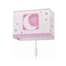Φωτιστικό παιδικό μονόφωτο απλίκα τοίχου pink moon (ρόζ φεγγάρι) με διπλό τοίχωμα Ε27 (δώρο μια λάμπα LED E27)