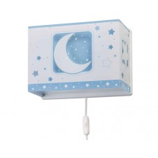 Φωτιστικό παιδικό μονόφωτο απλίκα τοίχου blue moon (μπλέ φεγγάρι) με διπλό τοίχωμα Ε27 (δώρο μια λάμπα LED E27)