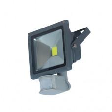 Προβολέας led cob 10W (10 watt) με φωτοκύτταρο ανιχνευτή κίνησης ψυχρό λευκό φώς 220V γκρί αλουμινίου στεγανός αδιάβροχος IP65 950lumen