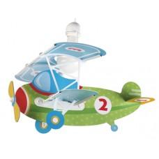 Φωτιστικό παιδικό μονόφωτο σειρά Baby Planes (αεροπλάνα) κρεμαστό οροφής πράσινο E27 με κιτ ανάρτησης