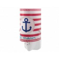 Φωτιστικό (φωτάκι) νυκτός πρίζας led 0,5W με διακόπτη E14 σειρά Petit Marin (ναυτικό)