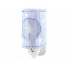 Φωτιστικό (φωτάκι) νυκτός πρίζας led 0,5W με διακόπτη E14 σειρά μπλε όνειρα αστεράκια