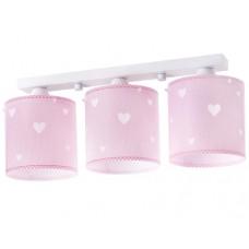 Φωτιστικό παιδικό σειρά Ροζ όνειρα καρδούλες τρίφωτο 3ΧΕ27 σε ράγα οροφής