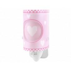 Φωτιστικό (φωτάκι) νυκτός πρίζας led 0,5W με διακόπτη E14 σειρά Ροζ όνειρα καρδούλες