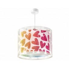 Φωτιστικό παιδικό μονόφωτο σειρά Cuore (χρωματιστές καρδούλες) κρεμαστό οροφής E27 με κιτ ανάρτησης διπλού τοιχώματος (δώρο μια λάμπα LED E27)