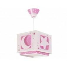 Φωτιστικό παιδικό μονόφωτο σειρά Moon pink (φεγγάρι-αστέρι ρόζ) κρεμαστό οροφής διπλού τοιχώματος E27 με κιτ ανάρτησης φωσφορίζον (δώρο μια λάμπα LED E27)
