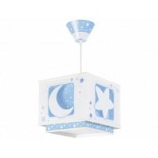 Φωτιστικό παιδικό μονόφωτο σειρά Moon blue (φεγγάρι-αστέρι μπλέ) κρεμαστό οροφής διπλού τοιχώματος E27 με κιτ ανάρτησης φωσφορίζον (δώρο μια λάμπα LED E27)