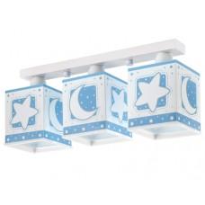 Φωτιστικό παιδικό σειρά Moon blue (φεγγάρι-αστέρι μπλέ) τρίφωτο 3ΧΕ27 σε ράγα οροφής φωσφορίζον