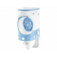 Φωτιστικό (φωτάκι) νυκτός πρίζας led 0,5W με διακόπτη E14 σειρά Moon blue (φεγγάρι-αστέρι μπλέ)