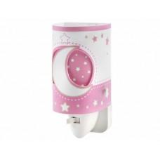 Φωτιστικό (φωτάκι) νυκτός πρίζας led 0,5W με διακόπτη E14 σειρά Moon pink (φεγγάρι-αστέρι ροζ)