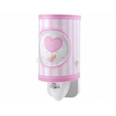 Φωτάκι νυχτός (φωτιστικό) παιδικό led πρίζας με διακόπτη ροζ καρδούλα