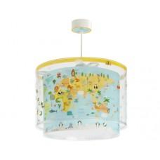 Φωτιστικό παιδικό μονόφωτο σειρά Baby world παιδικός κόσμος (χάρτης) διπλού τοιχώματος κρεμαστό οροφής E27 με κιτ ανάρτησης (δώρο μια λάμπα LED E27)