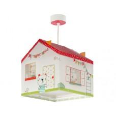 Φωτιστικό παιδικό μονόφωτο σειρά My sweet home (παιδικο σπιτάκι) διπλού τοιχώματος κρεμαστό οροφής E27 με κιτ ανάρτησης (δώρο μια λάμπα LED E27)