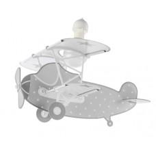 Φωτιστικό παιδικό μονόφωτο Stars Gray (αστερια γκρι) οροφής κρεμαστό E27 με κιτ ανάρτησης σε σχήμα αεροπλάνου (δωρο μια λάμπα LED E27)