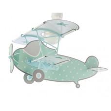 Φωτιστικό παιδικό μονόφωτο Stars Green (αστερια πράσινο) οροφής κρεμαστό E27 με κιτ ανάρτησης σε σχήμα αεροπλάνου (δωρο μια λάμπα LED E27)
