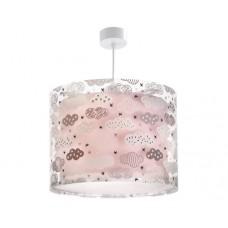 Φωτιστικό παιδικό μονόφωτο clouds pink (ροζ σύννεφα) κυκλικό με διπλό τοίχωμα κρεμαστό Ε27 (δώρο μια λάμπα LED E27)