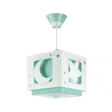 Φωτιστικό παιδικό μονόφωτο σειρά Moon green (φεγγάρι-αστέρι πράσινο) κρεμαστό οροφής διπλού τοιχώματος E27 με κιτ ανάρτησης φωσφορίζον (δώρο μια λάμπα LED E27)
