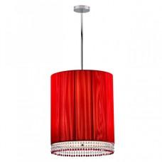 Φωτιστικό εξάφωτο κρεμαστό με ντουί E27 x 6 μεταλλικό - υφασμάτινο με κρύσταλλα χρώματος κόκκινο 50 x 128cm