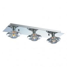Φωτιστικό οροφής μεταλλικό ίνοξ τρίφωτο G9 x 3 χρώματος χρώμιο 47 x 13cm