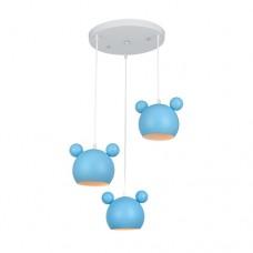 Φωτιστικό παιδικό oροφής κρεμαστό τρίφωτο 3 x E14 σε σχήμα το κεφάλι Mickey mouse 30 x 1.10cm χρώματος μπλέ