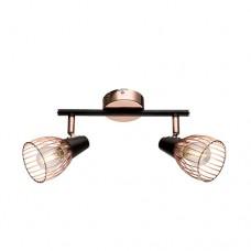 Φωτιστικό οροφής σποτ (spot) δίφωτη με ντουί E14 x 2 σειρά Ambix μεταλλική χρώματος μαυρο χάλκινο 25 x 17cm
