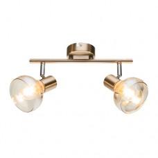 Φωτιστικό οροφής δίφωτο μπάρα σπότ (spot) με ντουί E14 x 2 σειρά Addy μεταλλική με γυαλί χρώματος χρύσο αντικέ 28 x 16,5cm