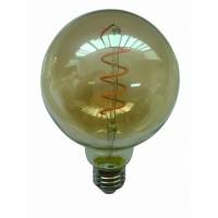 Λάμπα led filament edison με σπιραλ (spiral) σχέδιο E27 γλόμπος (globe) G95 6W ντιμαριζόμενη (dimmable) χρυσό (μελί) γυαλί 2400K θερμό λευκό φως ευρείας δέσμης 360° 540lumen 230V