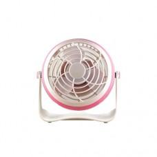 Ανεμιστήρας μίνι επιτραπέζιος με σύνδεση USB και μπαταρίας 4ΧΑΑ Φ10cm 1.8W 5V περιστρεφόμενος χρώματος ροζ
