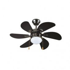 Ανεμιστήρας οροφής πολυτελείας μαύρος 70W διάμετρος Φ90cm ύψος 45cm με 1 φώς Ε27 6 φτερωτές και τηλεκοντρόλ (τηλεχειριστήριο)
