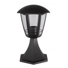 Φωτιστικό κολωνάκι κολώνα πλαστικό δαπέδου επιδαπέδιο εξάγωνη E27 φαναράκι κλασικού τύπου vintage 28cm μαύρο χρώμα εξωτερικού χώρου στεγανό IP44
