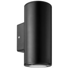 Φωτιστικό απλίκα τοίχου πλαστική GU10 διπλής δέσμης πάνω κάτω (up down) στρογγυλή χρώματος μαύρο 18,6cm στεγανή IP65 εξωτερικού χώρου