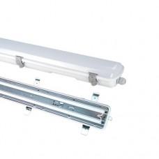 Φωτιστικό τύπου φθορίου βιομηχανικό 150cm 35W με ταινία led ψυχρό λευκό φώς 6500K στεγανό αδιάβροχο IP65 επίτοιχο οροφής 2900 lumens