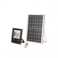 Προβολέας 20W led ενδιάμεσο λευκό φώς 4000Κ smd ηλιακός μπαταρίας DC 12V με τηλεχειριστήριο αλουμινίου χρώματος μαύρο στεγανός αδιάβροχος IP65 1600 lumens
