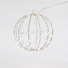 Χριστουγεννιάτικη μεταλλική μπάλα Φ20cm 6W με σύρμα φωτιζόμενη 96 led θερμό λευκό φώς στεγανή αδιάβροχη IP44
