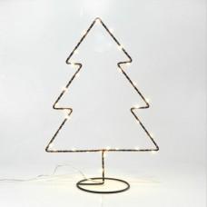 Χριστουγεννιάτικο δέντρο μαύρο διακοσμητικό μεταλλικό δαπέδου με βάση 31cm μπαταρίας 3AA φωτιζόμενο 30 led θερμό λευκό φώς μη στεγανό IP20