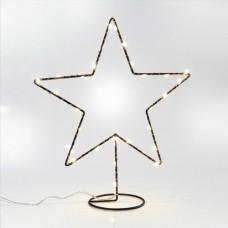 Χριστουγεννιάτικο αστέρι μαύρο διακοσμητικό μεταλλικό δαπέδου με βάση 31cm μπαταρίας 3AA φωτιζόμενο 30 led θερμό λευκό φώς μη στεγανό IP20