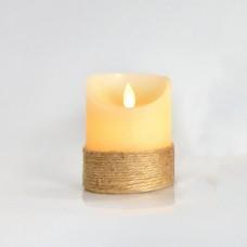 Χριστουγεννιάτικο διακοσμητικό φωτιζόμενο κερί 7,5cm x 10cm ιβουάρ σχοινί με κίνηση στη φλόγα μπαταρίας 3ΑΑA με 1 led θερμό λευκό φώς