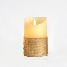 Χριστουγεννιάτικο κερί μπαταρίας 3ΑΑΑ διακοσμητικό φωτιζόμενο 7,5cm x 12,5cm ιβουάρ σχοινί με κίνηση στη φλόγα με 1 led θερμό λευκό φώς