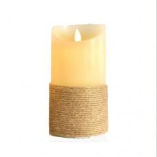Χριστουγεννιάτικο κερί διακοσμητικό φωτιζόμενο 7,5cm x 15cm ιβουάρ σχοινί με κίνηση στη φλόγα μπαταρίας 3ΑΑA με 1 led θερμό λευκό φώς