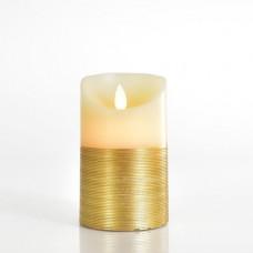 Χριστουγεννιάτικο κερί διακοσμητικό φωτιζόμενο 7,5cm x 12,5cm ιβουάρ χρυσό με κίνηση στη φλόγα μπαταρίας 3ΑΑA με 1 led θερμό λευκό φώς