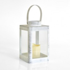 Χριστουγεννιάτικο πλαστικό φαναράκι λευκό διακοσμητικό φωτιζόμενο με led κερί 11,5cm x 19cm μπαταρίας 2ΑΑ θερμό λευκό φώς