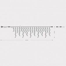Χριστουγεννιάτικη ασύμμετρη βροχή έως 45cm με 100 λαμπάκια (φωτάκια) πυρακτώσεως λευκά επέκταση και διάφανο καλώδιο 340cm